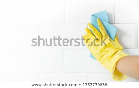 karo · çalışmak · işçiler · el · sünger · silme - stok fotoğraf © lisafx