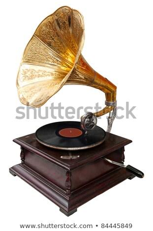 klasszikus · gramofon · fém · hangszóró · retro · hang - stock fotó © ozaiachin