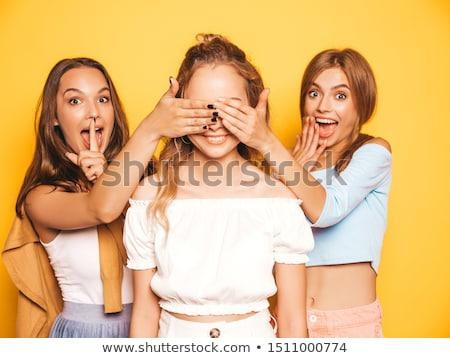 szexi · lány · mögött · fal · fehér · lány · kezek - stock fotó © ra2studio