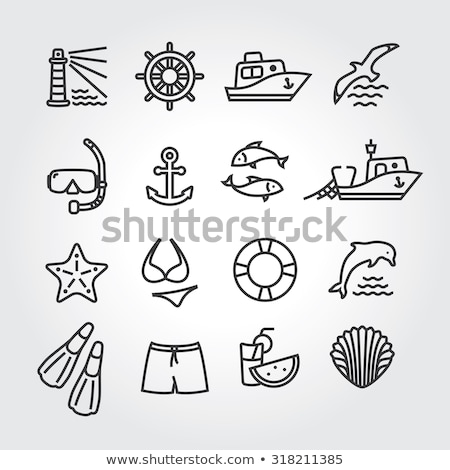 port with sailboat and fishing boat stock photo © goce