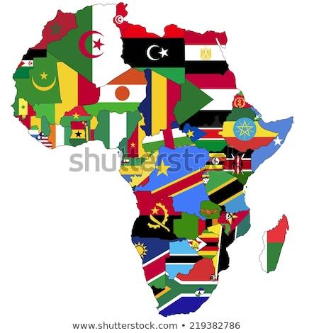 Afryki kontynent flagi tle podróży banderą Zdjęcia stock © ajlber