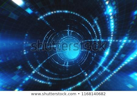Binair tunnel zwarte groene 3d render afbeelding Stockfoto © Giashpee