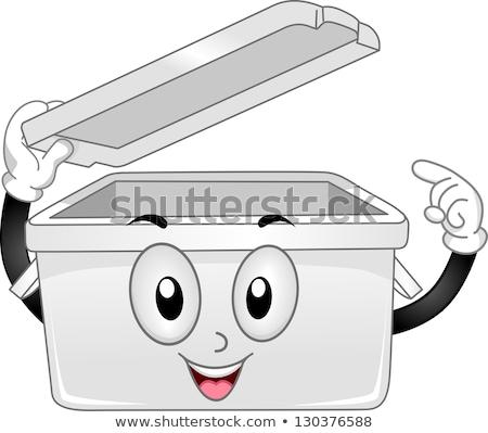プラスチック · ストレージ · マスコット · 実例 · オープン - ストックフォト © lenm