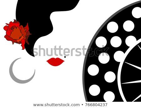 Spanyol flamenco táncos lány ventillátor buli Stock fotó © carodi