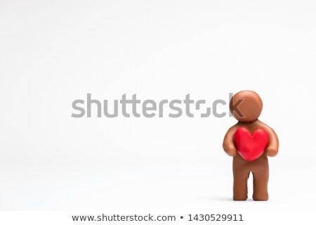 plasticine man hold heart Stock photo © Grazvydas