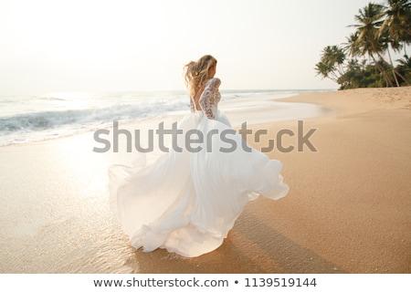 ストックフォト: を実行して · 花嫁 · 白人 · 花束 · 女性
