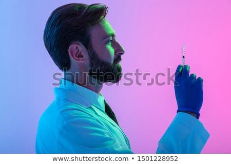 Foto stock: Cirujano · jeringa · blanco · cara · hombre
