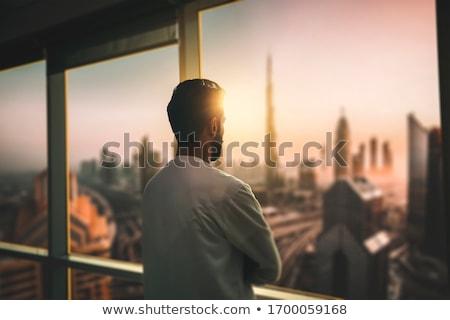 Sziluett erkély épület város építészet felhőkarcoló Stock fotó © zzve
