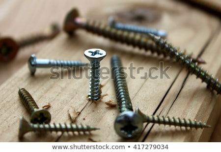 Une acier vis galvanisé blanche industrielle Photo stock © ondrej83