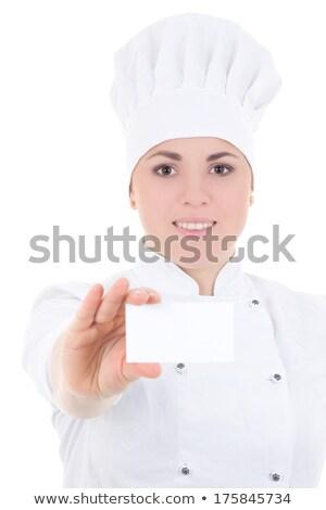 szakács · felirat · nő · szakács · pék · néz - stock fotó © photography33