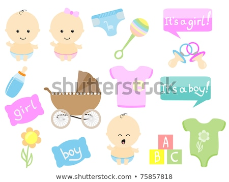 set icons perambulator bottle pacifier pink and blue vector illu stock photo © konturvid