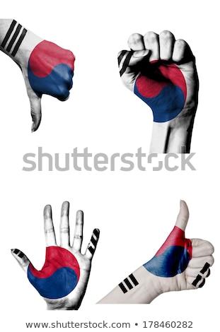 Corea del Sud bandiera pollice up gesto eccellenza Foto d'archivio © vepar5