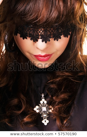 Mystère brunette dame tentant lèvres femme Photo stock © konradbak