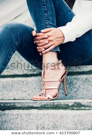 Gouden sandalen leder transparant plastic Stockfoto © tanya_ivanchuk