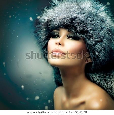 красивая · девушка · шуба · Hat · красивой - Сток-фото © victoria_andreas