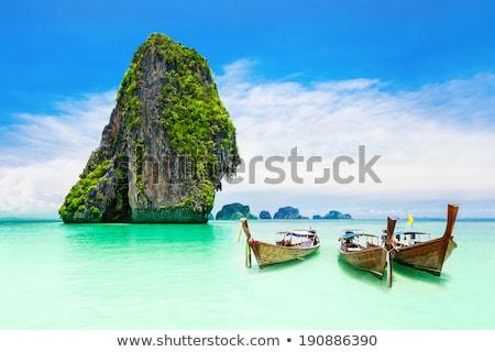 手のひら · ボート · 熱帯ビーチ · タイ · 島 · ツリー - ストックフォト © c-foto