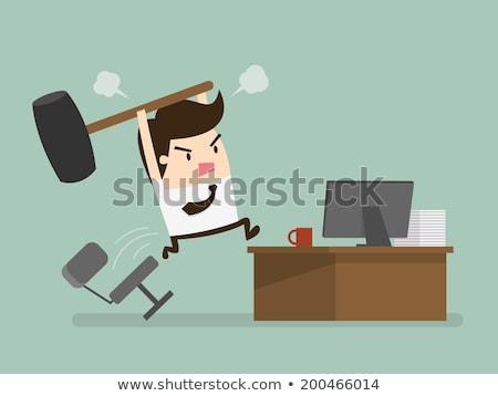 frustrado · homem · quebrado · pc · computador · negócio - foto stock © stevanovicigor