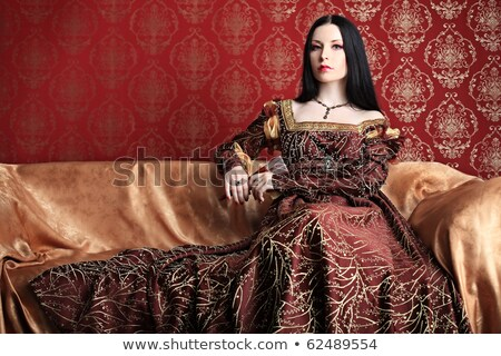 Woman at fashioned dress on renaissance sofa Stock photo © vetdoctor