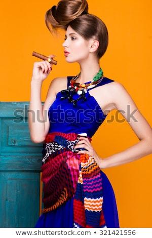 Portré gyönyörű nő szivar pompás gyönyörű fiatal nő Stock fotó © vlad_star