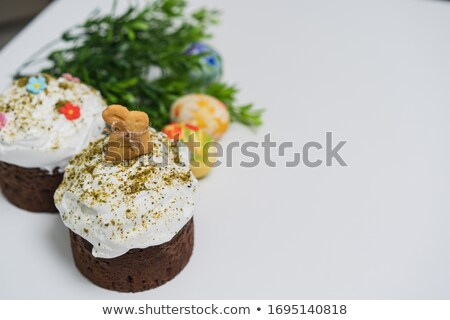 Grungy Easter Background with Decorated Cake Stock photo © WaD