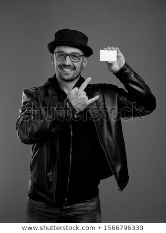 Stijlvol man witte hoed gezicht Stockfoto © Nejron
