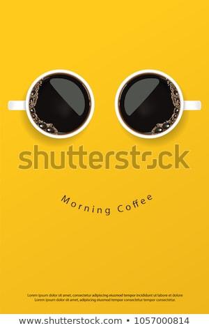 Kahve zaman sabah turuncu kırmızı kafe Stok fotoğraf © saovadee