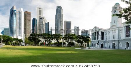 Plaats Singapore moderne wolkenkrabbers rivier bank Stockfoto © joyr