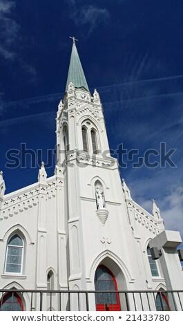Katolikus templom kék ég kereszt kék torony Stock fotó © meinzahn