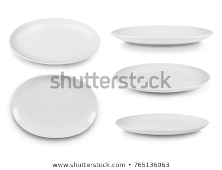 egy · izolált · fehér · porcelán · tányér · üveg - stock fotó © montego