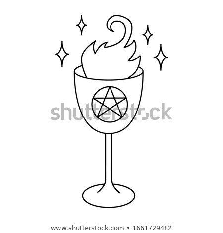 Fire happy halloween pentagram, vector illustration Stock photo © carodi