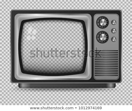 vintage · vermelho · tv · isolado · branco · 3d · render - foto stock © flipfine