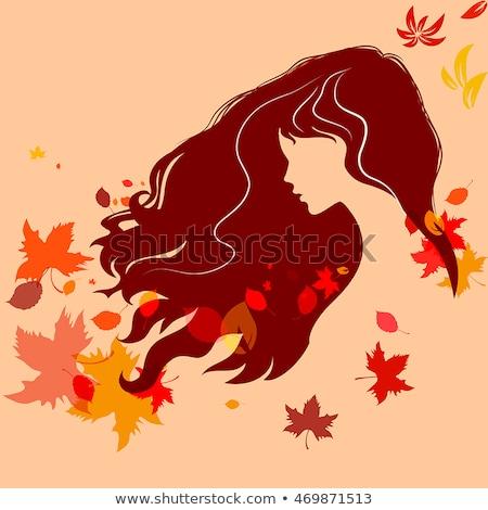 silhouet · vrouw · decoratief · textuur · abstract - stockfoto © glyph
