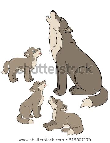 Desen animat lup mână proiect artă Imagine de stoc © lineartestpilot