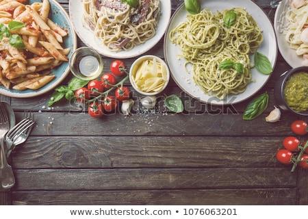 Fresh Tagliatelle with Pesto in Bowl Stock photo © JFJacobsz