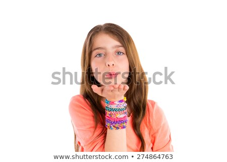 loom rubber bands bracelets blond kid girl blowing stock photo © lunamarina