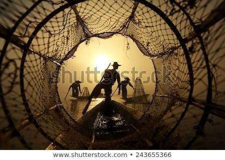 dob · halászháló · halász · citromsárga · hal · naplemente - stock fotó © pzaxe