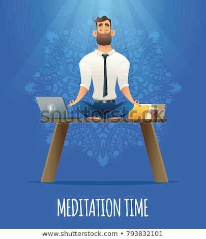 Huzurlu işadamı oturma lotus poz rahatlatıcı Stok fotoğraf © wavebreak_media