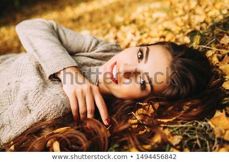 ブルネット · 女性 · 美 · 長い · 茶色の髪 · 赤い唇 - ストックフォト © neonshot