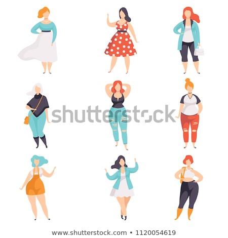 プラスサイズ ブロンド ファッション 女性 ベクトル ストックフォト © carodi