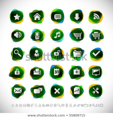 Enfocar verde vector icono diseno vidrio Foto stock © rizwanali3d