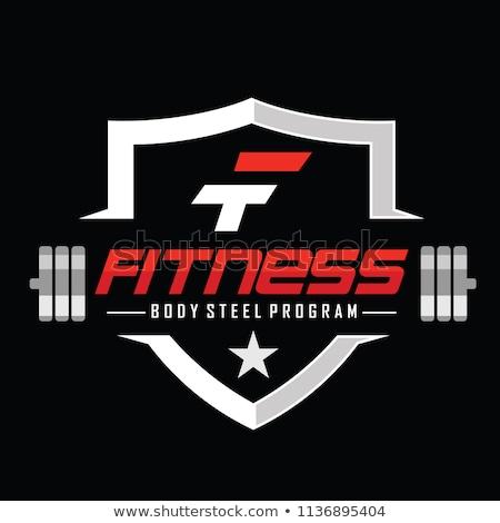 Ingesteld bodybuilding logos internet bar spier Stockfoto © shawlinmohd