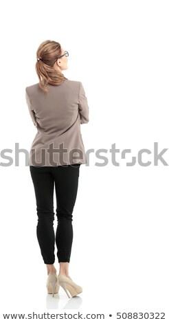 hölgy · kompakt · tükör · gyönyörű · arc · felfelé - stock fotó © ssuaphoto