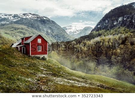 Photo stock: Bois · chalet · montagnes · hiver · paysage · faible