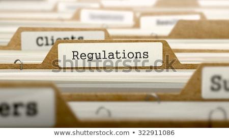 Kurallar kelime Klasör kart seçici odak hukuk Stok fotoğraf © tashatuvango