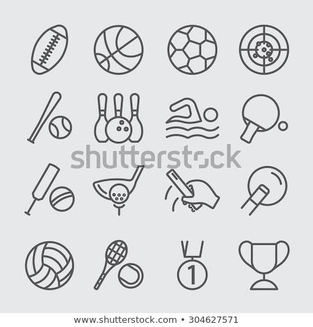 Asztalitenisz ütő labda vonal ikon háló Stock fotó © RAStudio