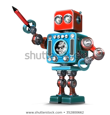 vintage robot with pen isolated contains clipping path stock photo © kirill_m