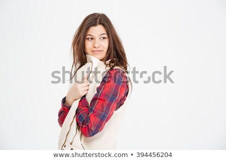 Vonzó fiatal nő kockás póló mellény pózol Stock fotó © deandrobot