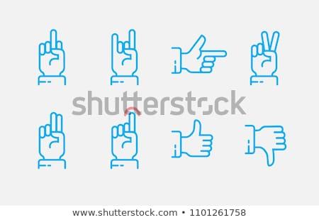 duim · beneden · handteken · lijn · icon · web - stockfoto © RAStudio
