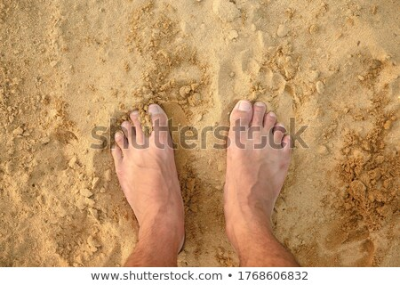 Male bare feet standing on the wet sandy beach stock photo © pixachi