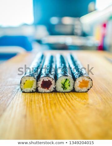 маки суши темно пластина риса свежие Сток-фото © andreasberheide